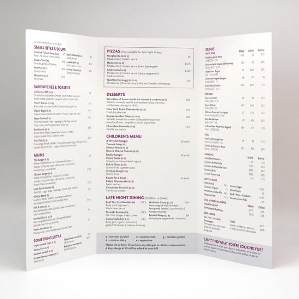 Housekeeping Room Service Menu