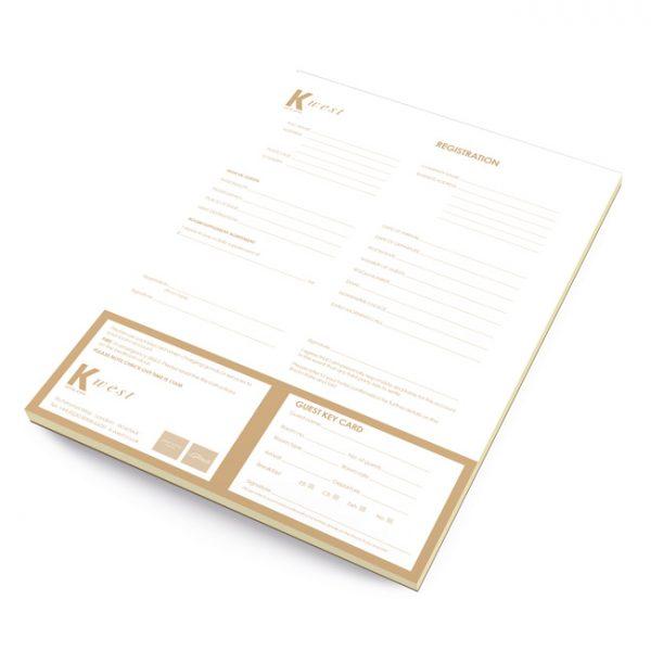 Hotel Registration Card Design and Print