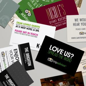Printed Trip Advisor Cards for Hotel Reception