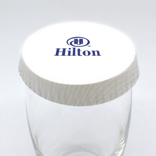 Hotel Housekeeping Logo Printed Glass Cover Caps
